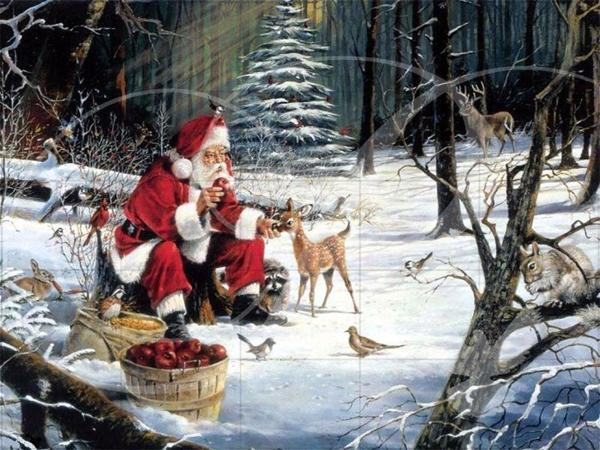Santa and the Deer Santa Wooden Jigsaw Puzzle