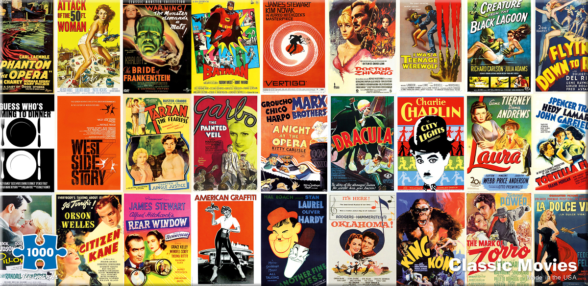 Vintage Cinema Famous People Jigsaw Puzzle