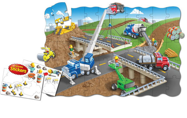 Puzzle Doubles Create A Scene Construction Construction Children's Puzzles