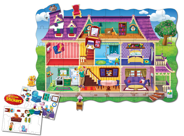 Puzzle Doubles Create A Scene Dollhouse Everyday Objects Floor Puzzle