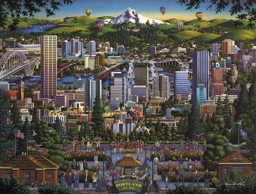 Portland City Of Roses Mountains Jigsaw Puzzle