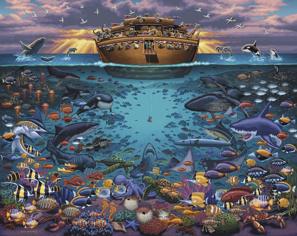 Noah's Ark Under the Sea Americana & Folk Art Jigsaw Puzzle