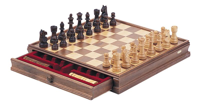 Classic Wooden Chess & Checkers Set