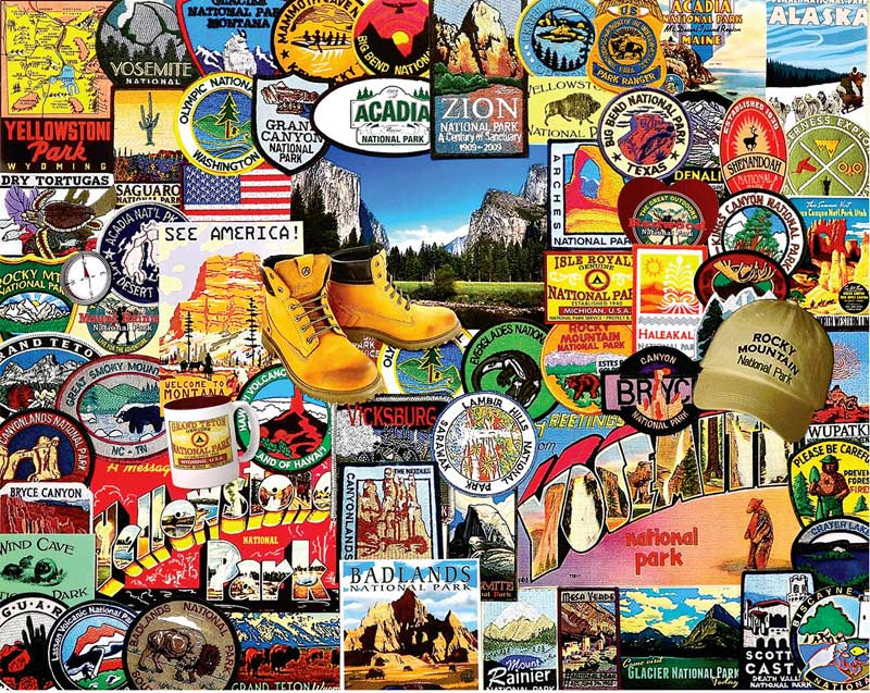National Park Badges - Scratch and Dent Travel Jigsaw Puzzle