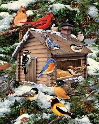 Log Cabin Birdhouse Birds Jigsaw Puzzle