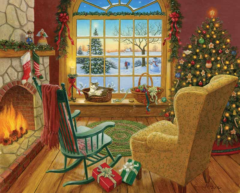 Cozy Christmas Cat Jigsaw Puzzle Puzzlewarehouse Com