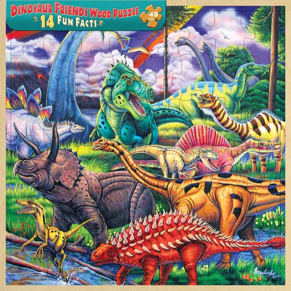 Wood Fun Facts - Dinosaur Friends Dinosaurs Jigsaw Puzzle