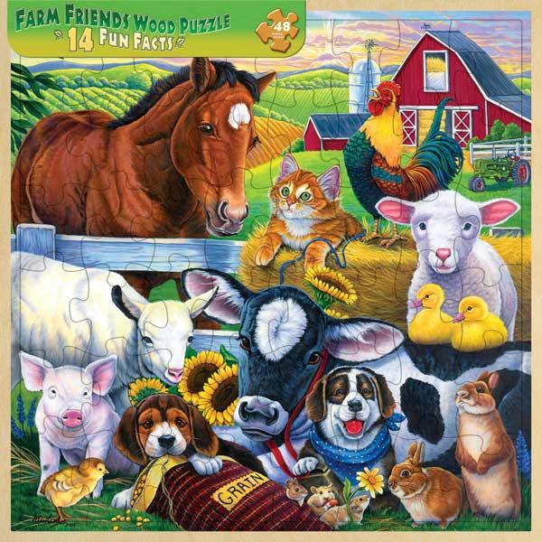 Wood Fun Facts - Farm Friends Farm Animals Jigsaw Puzzle
