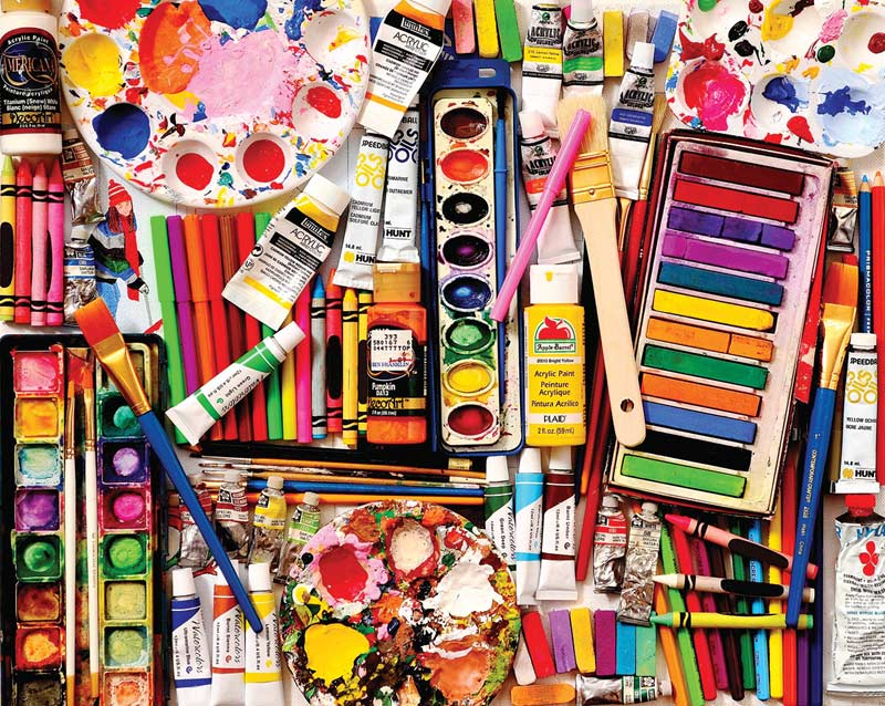 Art Supplies Collage Jigsaw Puzzle