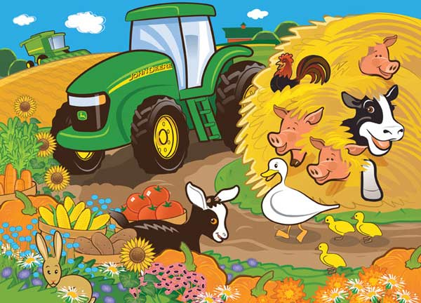 John Deere - Hiding in the Hay Farm Jigsaw Puzzle
