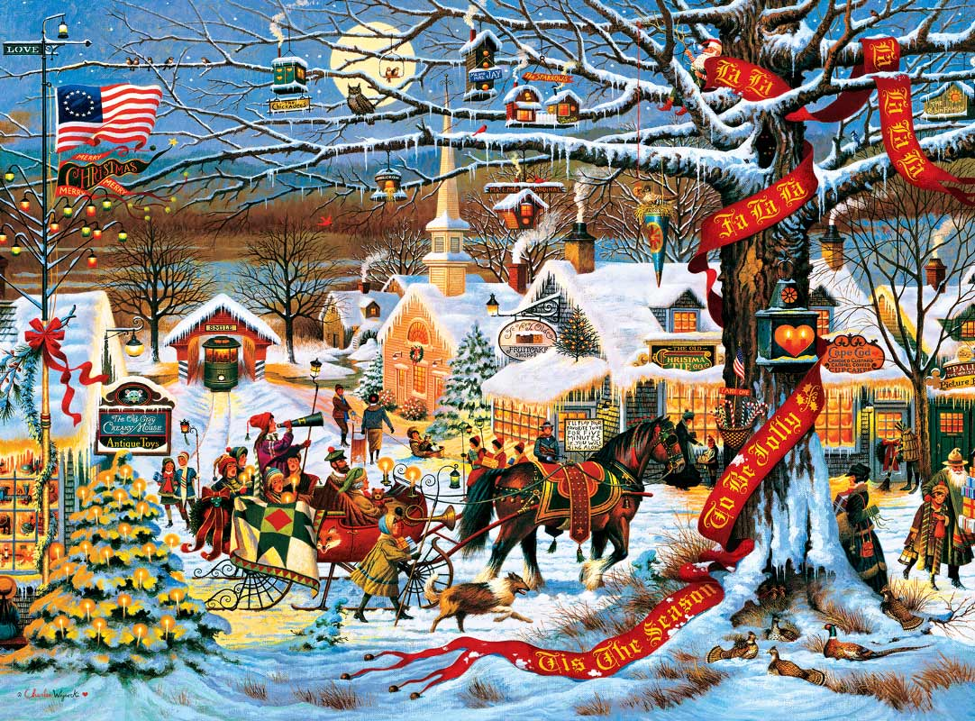 holiday collection small town christmas jigsaw puzzle. Black Bedroom Furniture Sets. Home Design Ideas