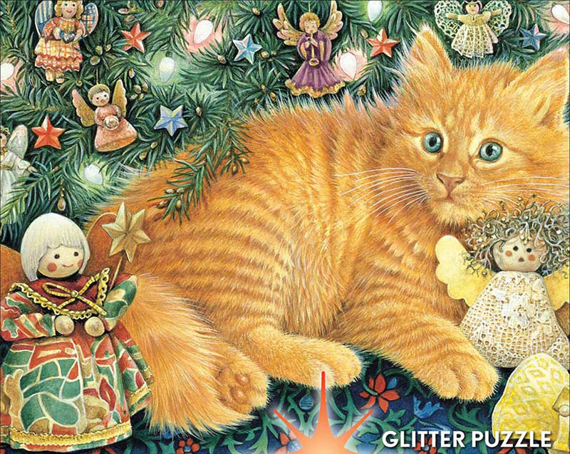 Ivory Cats Sparkle - Hark the Herald Angels Sing Cats Glitter / Shimmer / Foil Puzzles