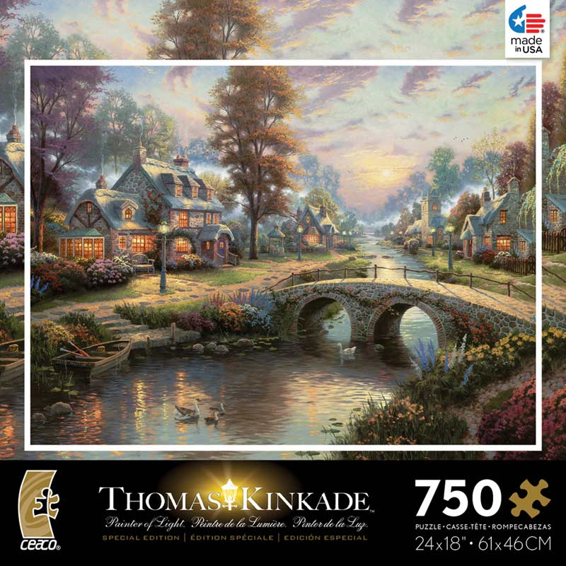 Kinkade Metallic - Sunset on Lamplight Lane Contemporary & Modern Art Glitter/Shimmer/Foil