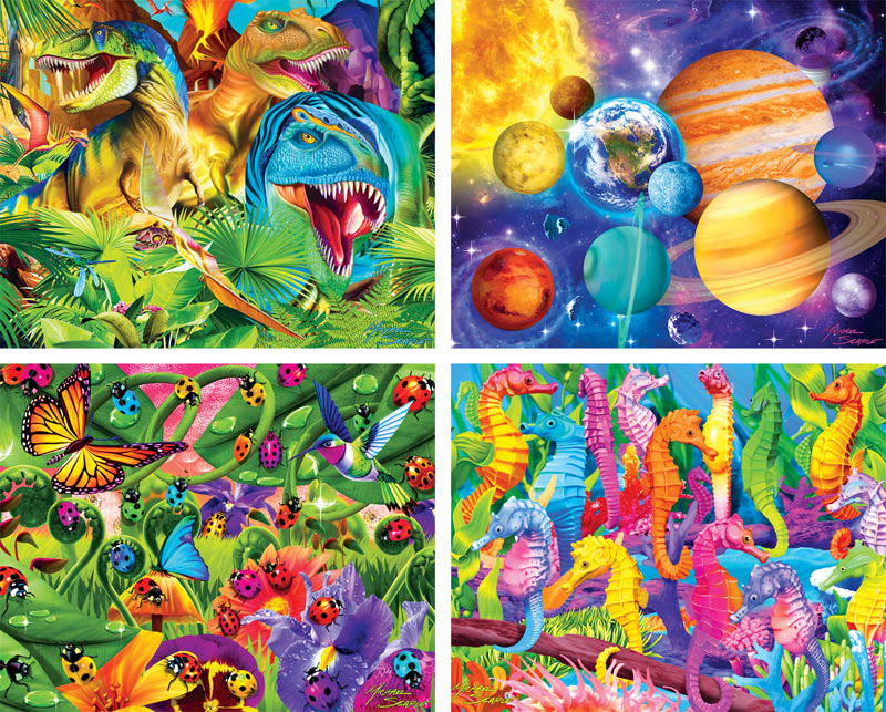 Glow in the Dark  4-Pack - Scratch and Dent Space Glow in the Dark Puzzle