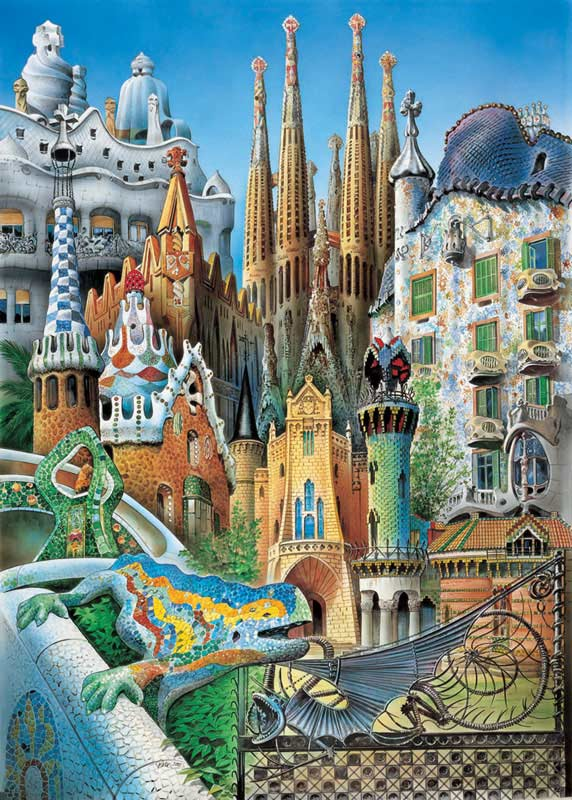 Collage Gaudi (Mini) Fantasy Jigsaw Puzzle