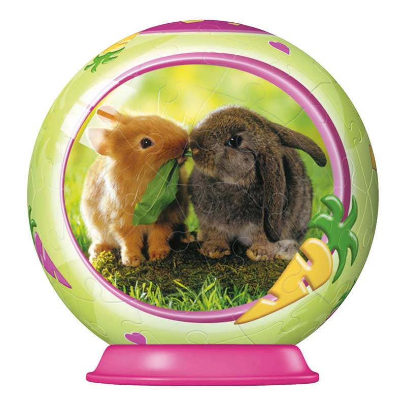 Animal Babies 54pc Puzzleball - Bunnies Other Animals Jigsaw Puzzle