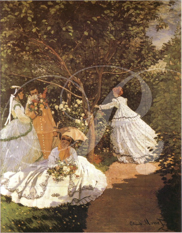 Femmes au Jardin Impressionism Wooden Jigsaw Puzzle