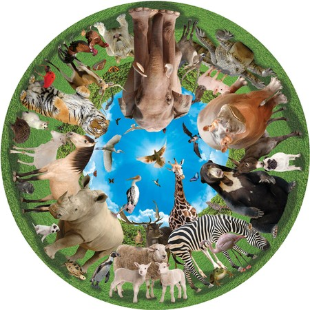 Round Table Puzzle - Animal Arena Jungle Animals Jigsaw Puzzle