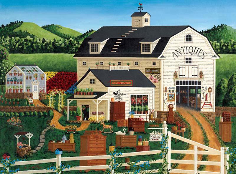 Jodi's Antiques Barn Folk Art Jigsaw Puzzle