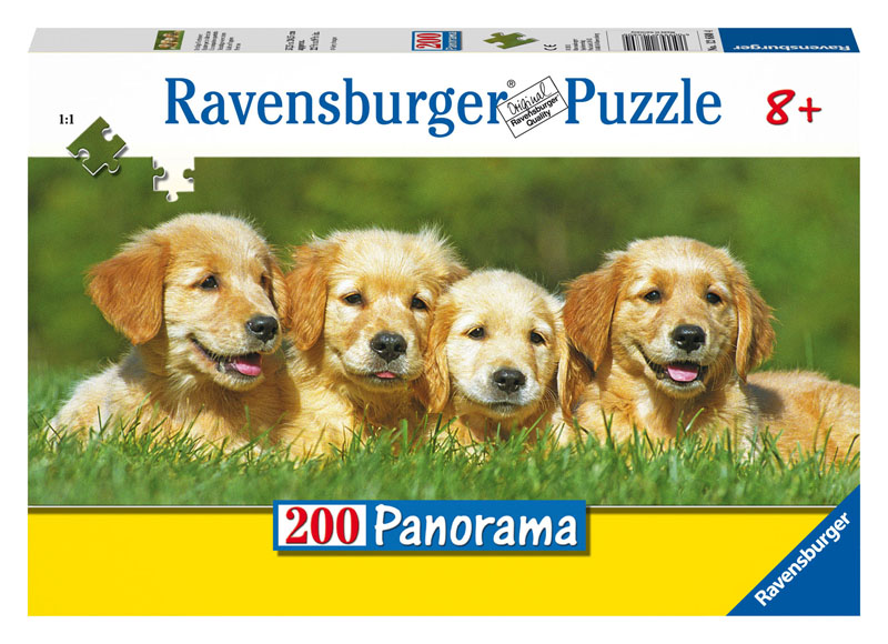 Golden Puppies (Panoramic) Dogs Jigsaw Puzzle