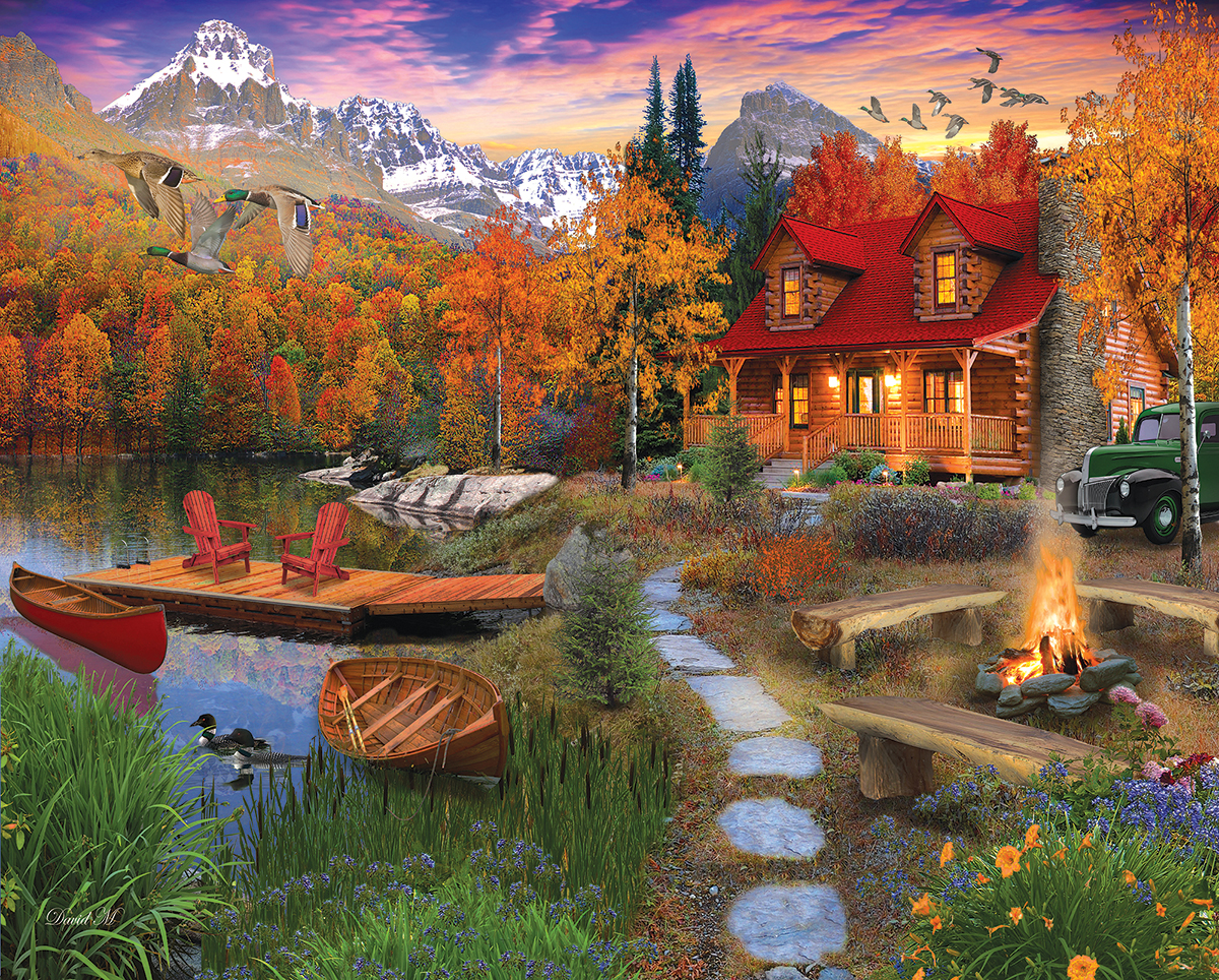 Cozy Cabin Fall Jigsaw Puzzle
