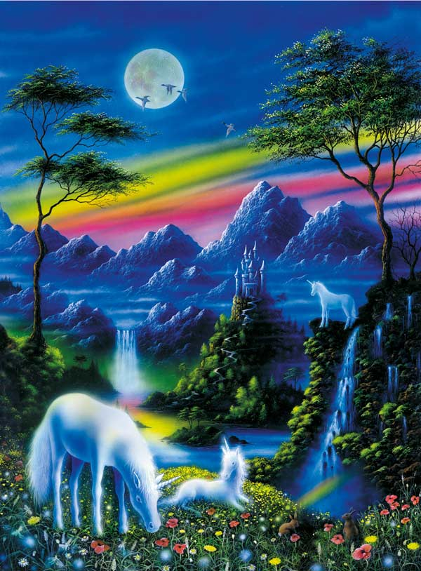 Moonlight Unicorns Unicorns Jigsaw Puzzle