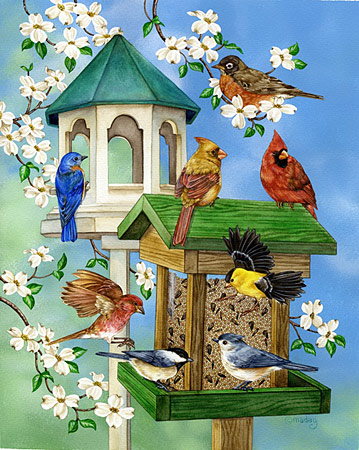 Birdfeeder Bliss Birds Jigsaw Puzzle