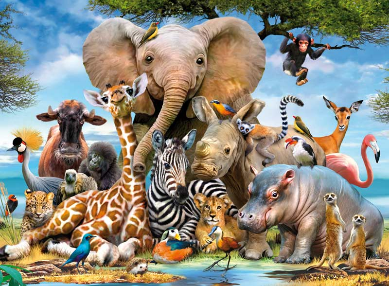 African Friends - Scratch and Dent Jungle Animals Jigsaw Puzzle