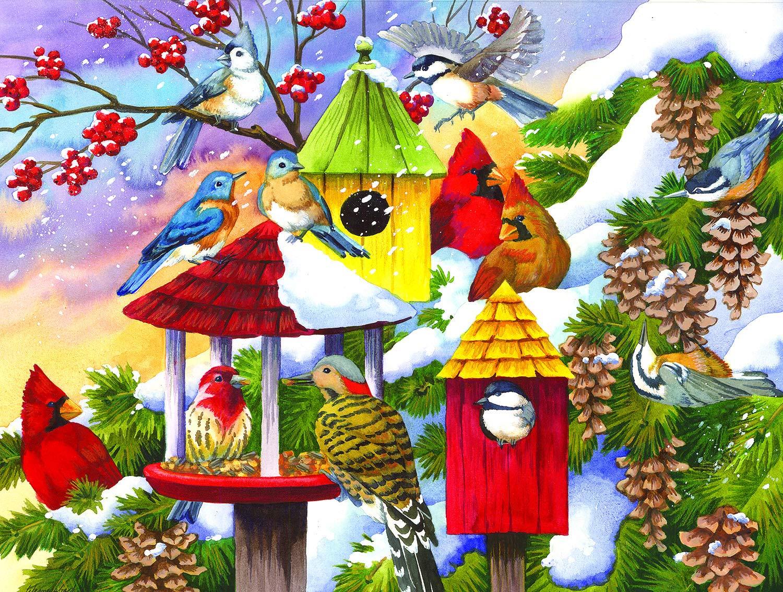 Meeting at the Birdfeeder Birds Jigsaw Puzzle