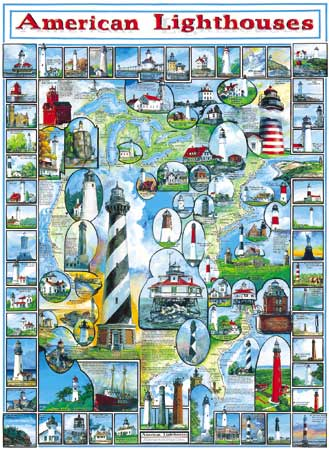 American Lighthouses Collage Jigsaw Puzzle