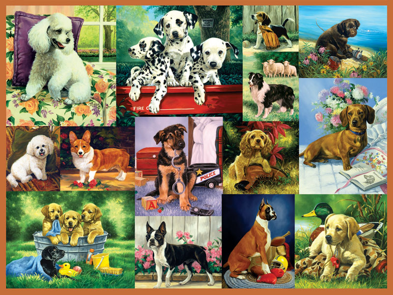 Puppy Collage Dogs Jigsaw Puzzle