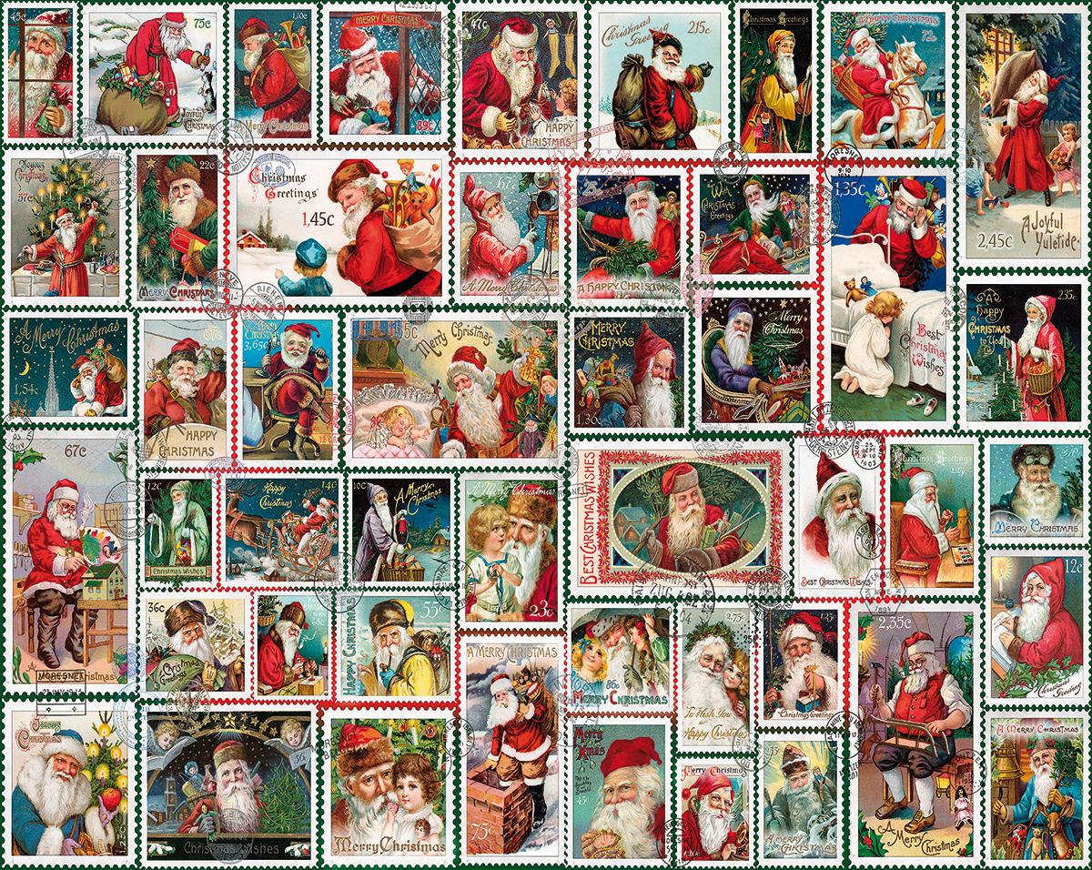 1000 Piece Jigsaw Puzzle White Mountain Puzzles Santa Stamps