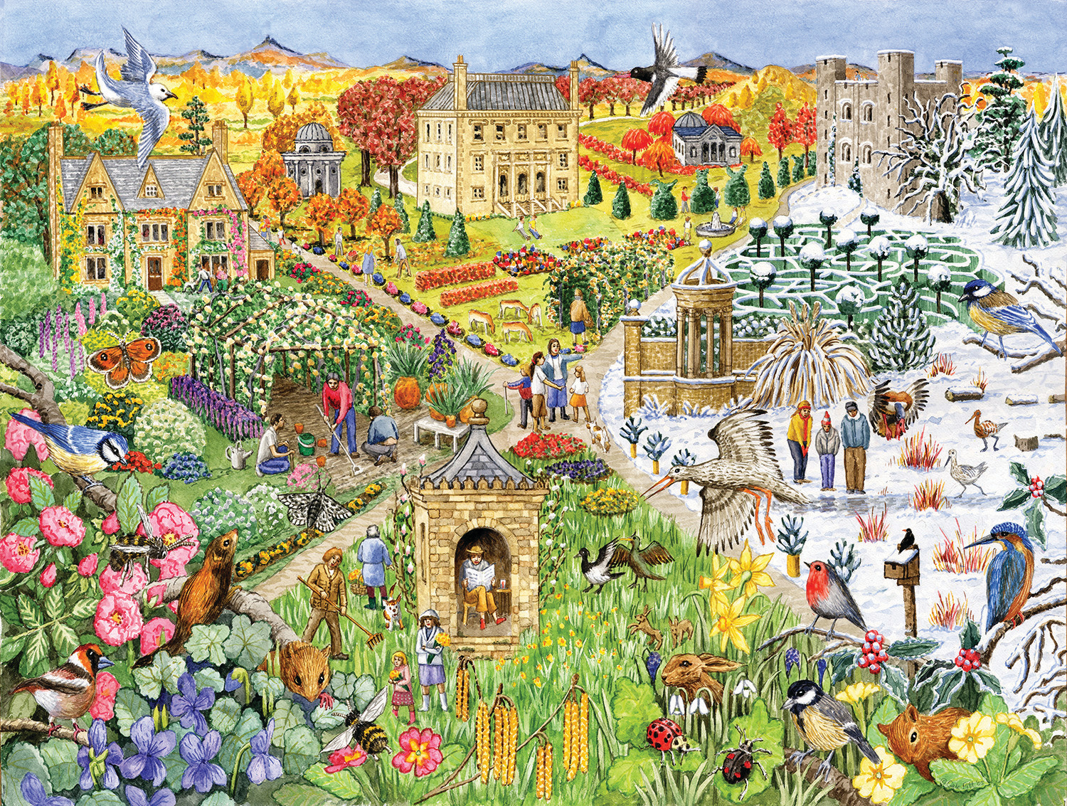 English Country Life through the seasons Countryside Jigsaw Puzzle