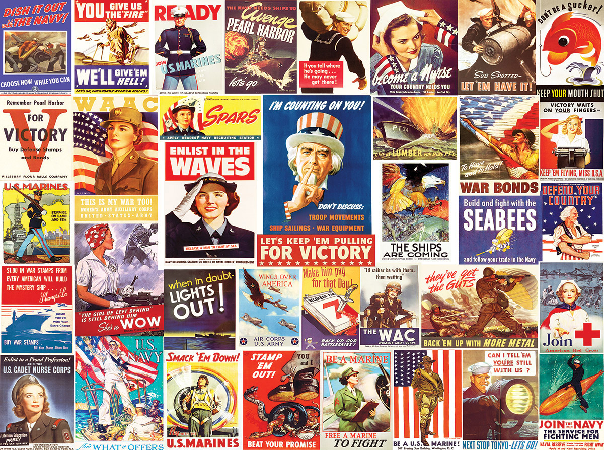 Vintage World War II Posters Patriotic Jigsaw Puzzle