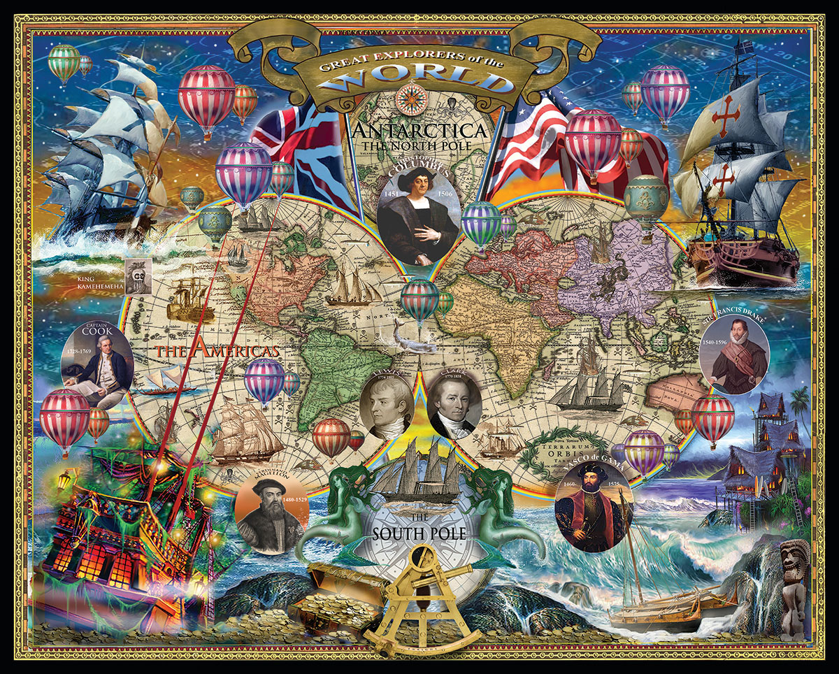Great Explorers Wold Map Travel Jigsaw Puzzle