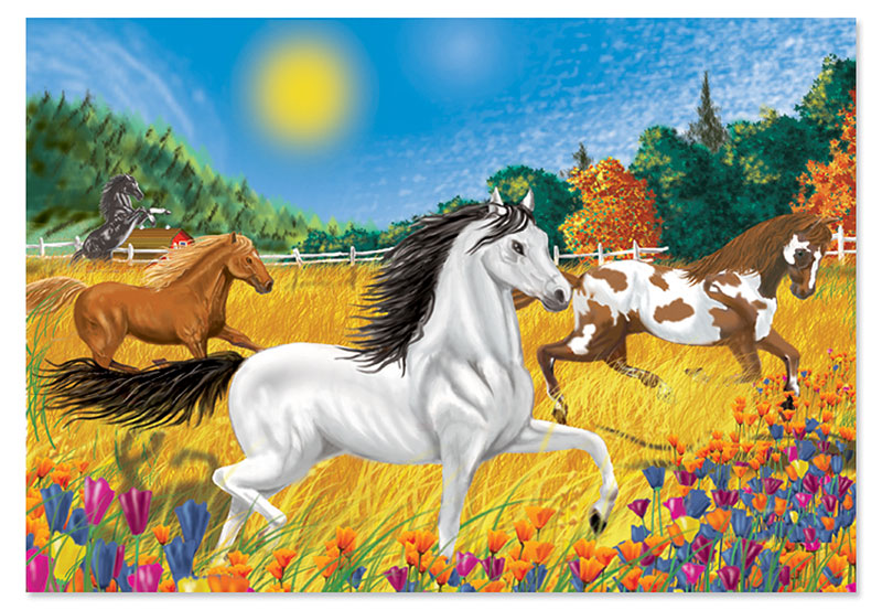 Horses in the Meadow Horses Children's Puzzles