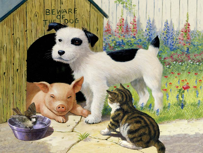 Beware of the Dog - Scratch and Dent Cats Jigsaw Puzzle