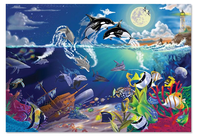 Underwater Playground Dolphins Jigsaw Puzzle