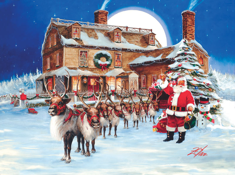 Santa's Tree Trimming Party Christmas Jigsaw Puzzle