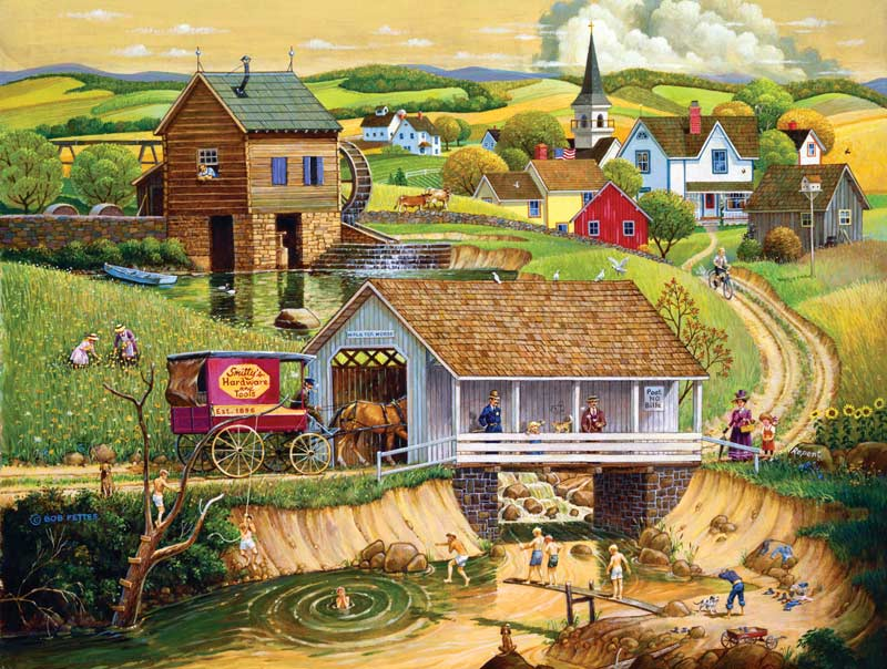 Last Swim of the Season Countryside Jigsaw Puzzle