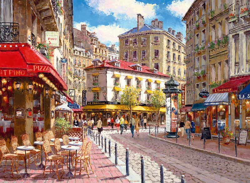 Quaint Shops Street Scene Jigsaw Puzzle