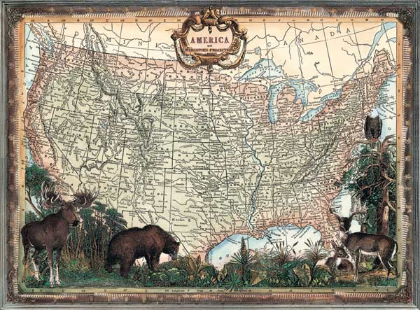 Old Fashioned America Maps Jigsaw Puzzle