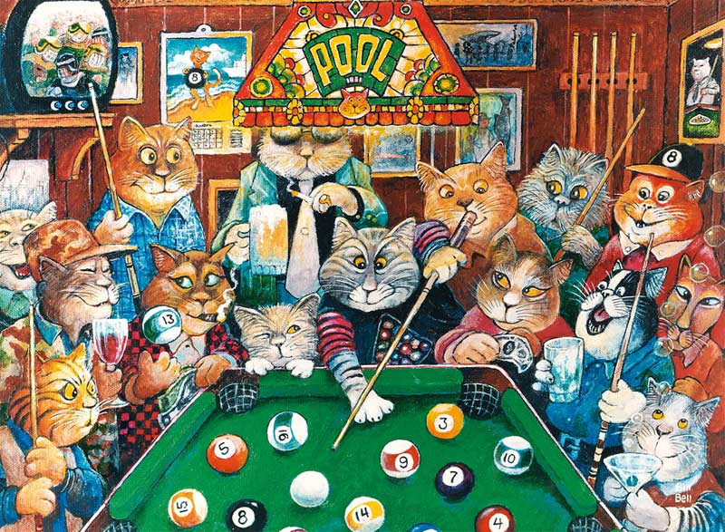 Pool Hall Cats Cartoons Jigsaw Puzzle