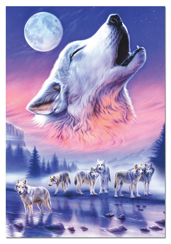 Baying To The Moon Wolves Jigsaw Puzzle