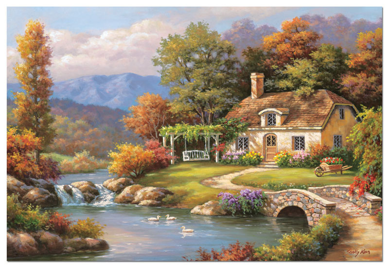 Cottage Stream, Sung Kim Countryside Jigsaw Puzzle