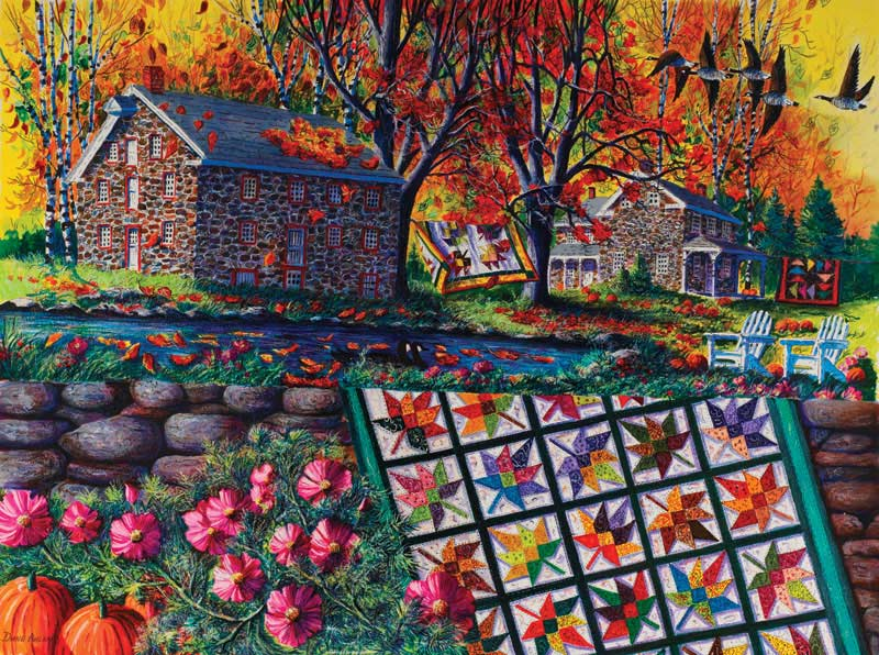 Stone Mill Crossing in Autumn Fall Jigsaw Puzzle