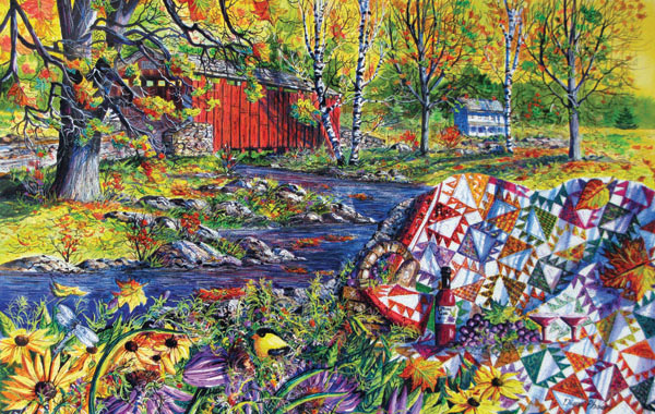 Autumn Picnic Quilting & Crafts Jigsaw Puzzle