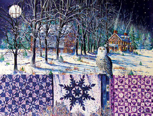 Snowy Indigo Evening Quilting & Crafts Jigsaw Puzzle