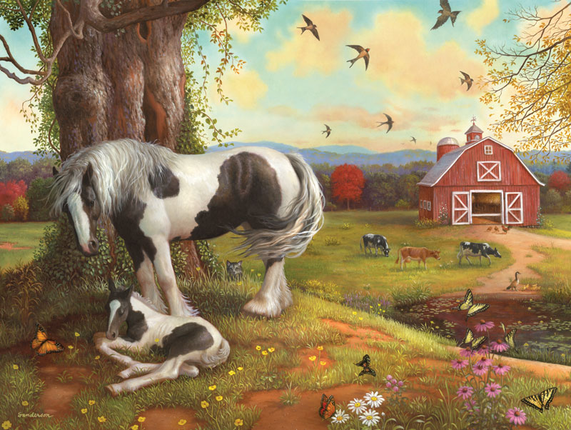 Asleep on the Farm Horses Jigsaw Puzzle