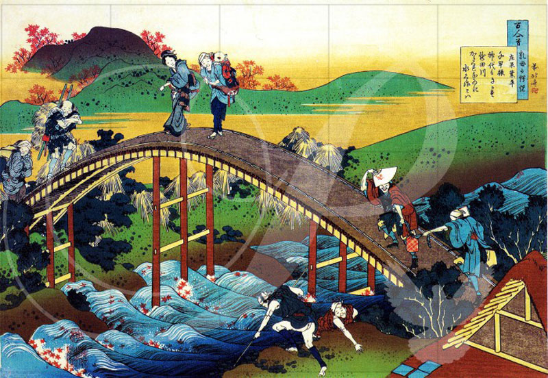 Travelers on the Bridge Asian Art Wooden Jigsaw Puzzle